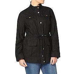 Evans - Black linen blend parka jacket