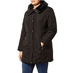 Evans - Black fur collar padded coat