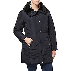 Evans - Navy fur collar padded coat