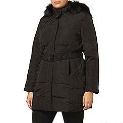 Evans - Black padded belted coat