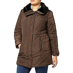 Evans - Brown padded belted coat