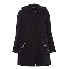 Evans - Navy blue textured duffle coat