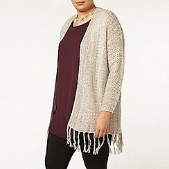 Evans - Tan honeycomb tassel cardigan