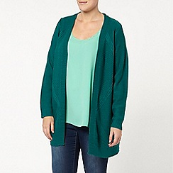 Evans - Teal green cable back cardigan