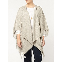 Evans - Grey cable tassel cardigan