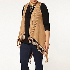 Evans - Camel cable fringed waistcoat