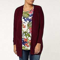 Evans - Berry red cable back cardigan
