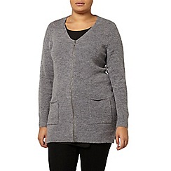 Evans - Grey zip cardigan