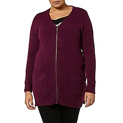 Evans - Berry boucle fluff zip cardigan