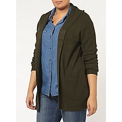 Evans - Olive green fringe hooded cardigan
