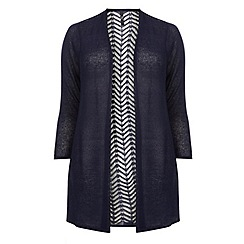 Evans - Navy blue pattern back cardigan