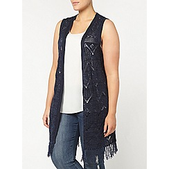 Evans - Navy sleeveless cardigan