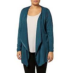 Evans - Teal green rib waterfall cardigan