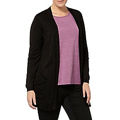 Evans - Black viscose pocket cardigan