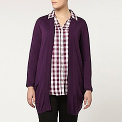 Evans - Purple pocket cardigan