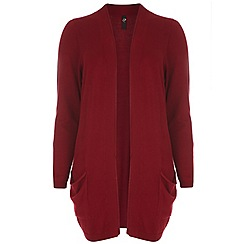 Evans - Red viscose pocket cardigan