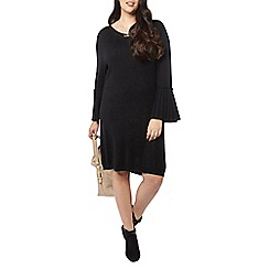 Evans - Black pleat sleeve tunic dress