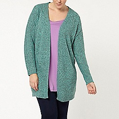 Evans - Green twist cable back cardigan