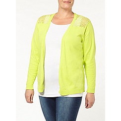 Evans - Green yoke lace cardigan