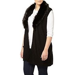 Evans - Black fur collar waistcoat