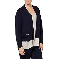 Evans - Navy blue zip pocket cardigan