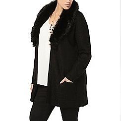 Evans - Black faux fur collar cardigan