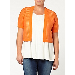 Evans - Orange short sleeve shrug