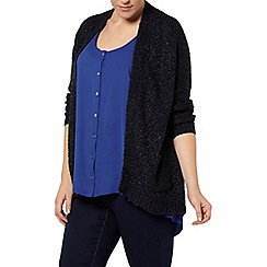 Evans - Navy blue ribbon cardigan