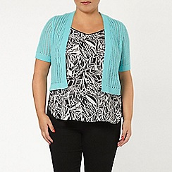 Evans - Aqua short sleeve shrug