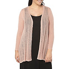 Evans - Blush pink textured fan back cardigan