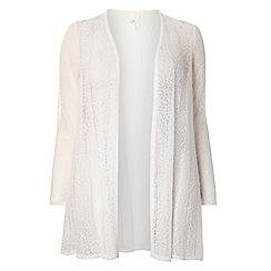 Evans - White textured fanback cardigan