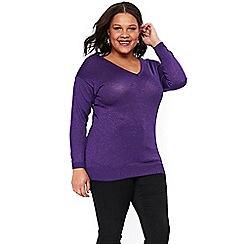 Evans - Purple sparkle lace jumper