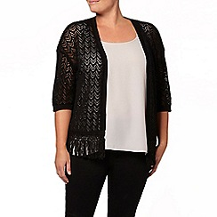 Evans - Black tassle open stitch cardigan