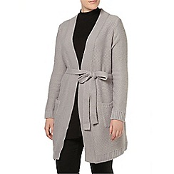 Evans - Grey rib belted cardigan