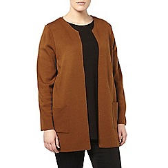 Evans - Chestnut collarless cardigan
