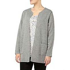 Evans - Grey collarless cardigan