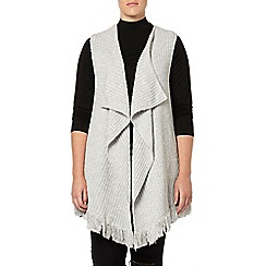 Evans - Grey rib tassel waterfall sleeveless cardigan