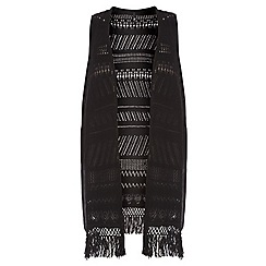 Evans - Black open stitch sleeveless cardigan