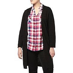 Evans - Black zig zag knit long cardigan