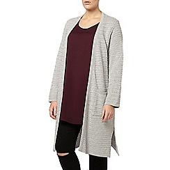 Evans - Grey zig zag knit long cardigan