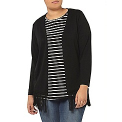 Evans - Black long sleeved tassle cardigan