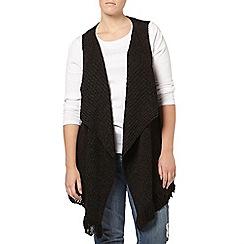 Evans - Grey tassle sleeveless cardigan