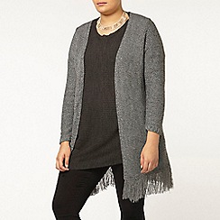 Evans - Black and white fringed cardigan