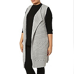 Evans - Grey cable knit sleeveless cardigan