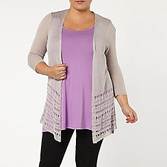 Evans - Grey pointelle border cardigan