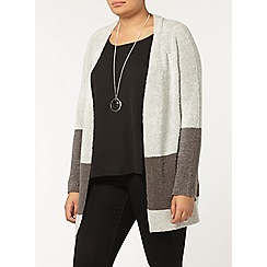 Evans - Grey block stripe cardigan