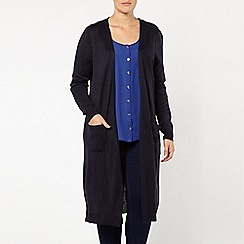 Evans - Navy longline pocket cardigan