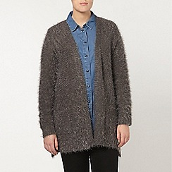 Evans - Grey fluffy pocket cardigan