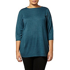 Evans - Teal green spot detail jumper