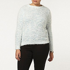 Evans - Blue and ivory fluffy jumper